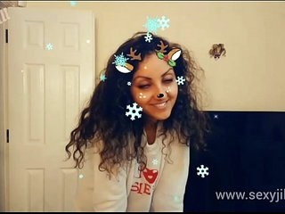 Christmas Snapchat teen gives best deepthroat blowjob with massive cumshot swallow tiktok hot shots POV Indian