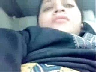 Indian girl enjoyed on backseat of schoolbus