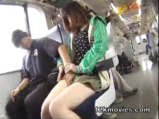 small China girl.forced in public bus