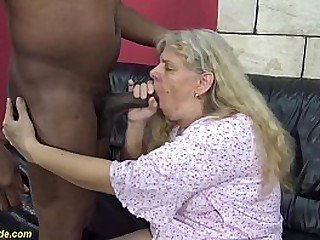 71 years old chubby granny enjoys her first rough big black cock interracial sex