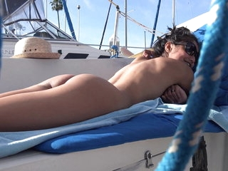 SOMEONE COULD SEE US! VIVA ATHENA GIVES SNEAKY BLOWJOB ON BOAT